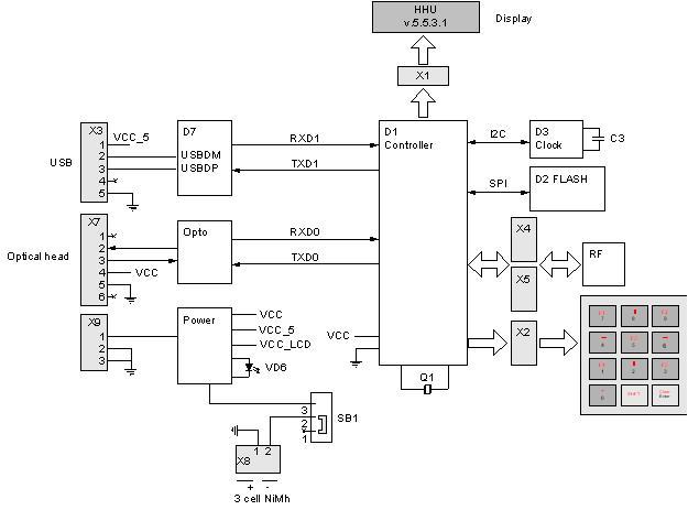 Аккумулятор (3 cell NiMh) и схема его зарядки.  Интерфейс СМ-BUS (Opto...